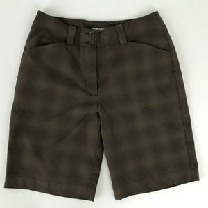 Nike Fit Dry Brown Pink Plaid Casual Bermuda Golf
